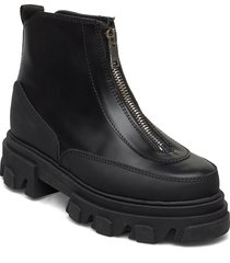 zipper boot shoes boots ankle boots ankle boot - flat svart ganni