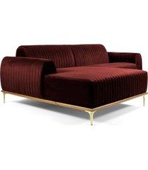 sofá 3 lugares com chaise base de madeira euro 245 cm veludo vinho - gran belo