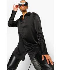 oversized satijnen overhemd, black