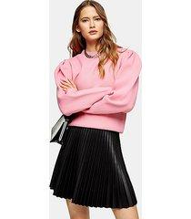 pink pleated sleeve sweatshirt - pink