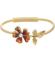 2028 women's gold tone orange enamel flower and crystal accent spring hinge cuff bracelet