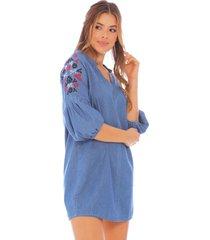 vestido boho con bordado floral x49433