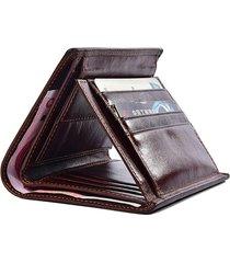 portafoglio uomo corto vera pelle portafoglio verticale a rilievo vintage a 3 pieghe