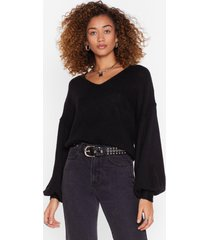 womens warm up to me balloon sleeve sweater - black
