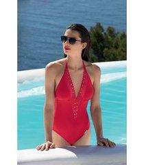 lise charmel badmode ajourage couture badpak rood aba9615b