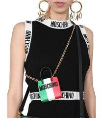 moschino italian slogan micro shopper bag