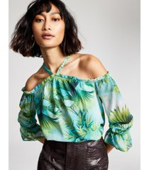 i.n.c. petite printed cold-shoulder ruffled halter top, created for macy's