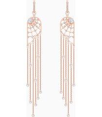 orecchini chandelier precisely, bianco, placcato oro rosa