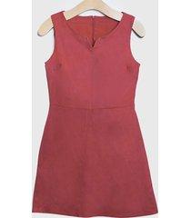 vestido ash liso con tachas en escote rosa - calce regular
