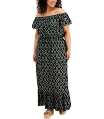 style & co plus size on/off-shoulder maxi dress, created for macy's