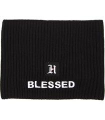 tommy hilfiger black blend ribbed wool hat hair band