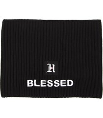 tommy hilfiger black blend ribbed wool hat hair band