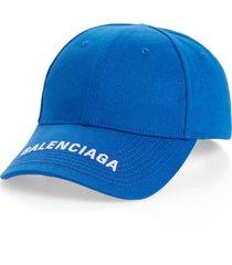 men's balenciaga logo embroidered baseball cap - white