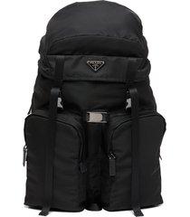 prada re-nylon multi-pocket backpack - black