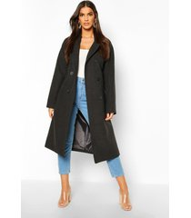 double breasted belted wool look coat, charcoal