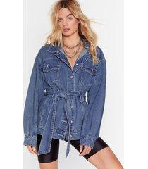 stitch it to me belted denim jacket