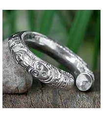 sterling silver cuff bracelet, 'deities' (thailand)