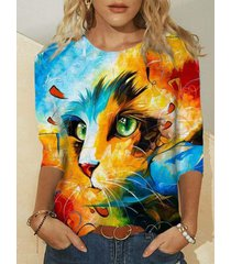 camicetta casual a maniche lunghe sfumata con stampa gatto
