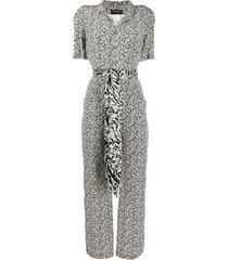 chanel pre-owned patterned tie waist jumpsuit - black