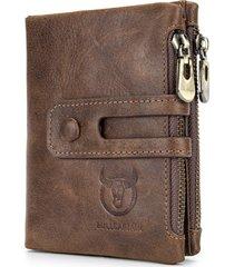 bullcaptain uomo vintage portafoglio in pelle vera con rfid antimagnetico con 14 card slots portamonete