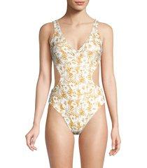 l*space by monica wise women's seaside escape monaco one-piece swimsuit - seaside - size 8