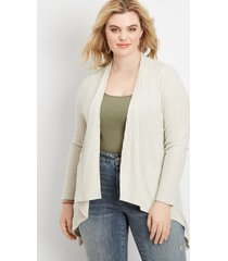 maurices plus size womens lattice back open front cardigan beige