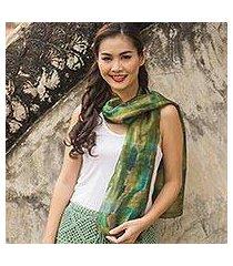 silk scarf, 'green thai river' (thailand)