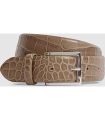 reiss milly - leather crocodile patterned belt in neutral, womens, size l