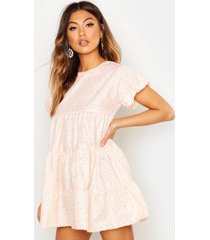 broderie anglaise smock dress, peach