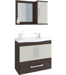 gabinete suspenso para banheiro atenas 56,5x63,5cm café e off white