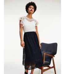 tommy hilfiger women's lace overlay midi skirt desert sky - 14