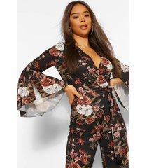 bloemenprint jumpsuit met wijde mouwen en ceintuur, zwart
