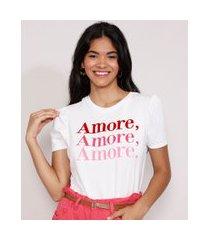 "camiseta feminina manga bufante amore"" flocada decote redondo branca"""