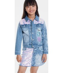 jean jacket with conches and sequins - blue - 3/4