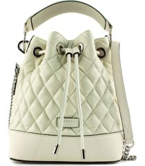 lancel white quilted leather bucket bag