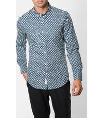men's 7 diamonds 'night patrol' trim fit print woven shirt, size x-large - blue