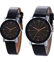 casual paio di orologi da polso al quarzo convesso quadrante rotondo cinturino in pelle orologi per uomo donna
