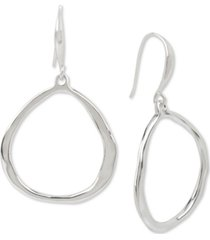 robert lee morris soho medium silver-tone sculptural drop hoop earrings