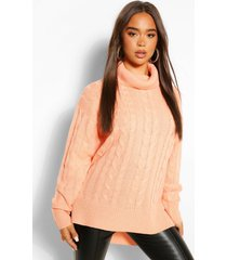 step hem cable knit sweater, apricot