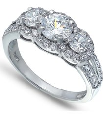 cubic zirconia round 3 stone halo ring in fine silver plate
