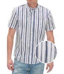 camisa poplin slim rayada manga corta azul gap