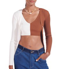 women's staud cargo colorblock sweater, size x-large - white