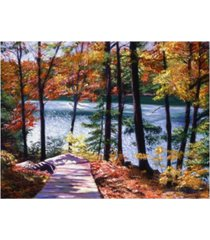 "david lloyd glover autumn boardwalk canvas art - 37"" x 49"""