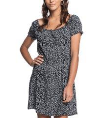 roxy juniors' dear summer printed puff-sleeve dress