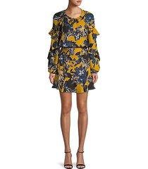 floral-print mini blouson dress