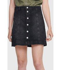 falda jacqueline de yong denim negro - calce regular