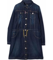 dsquared2 dark-blue stretch-cotton denim dress