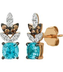 le vian blue zircon (1 1/5 ct.t.w.), nude diamonds (1/6 ct.t.w.), and chocolate diamonds (1/10 ct.t.w.) earrings set in 14k rose gold