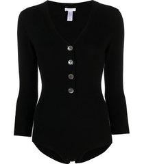 eres virtual wool-blend bodysuit - black