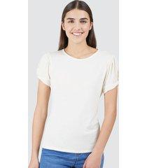 camiseta mujer recogido en manga color blanco, talla 10